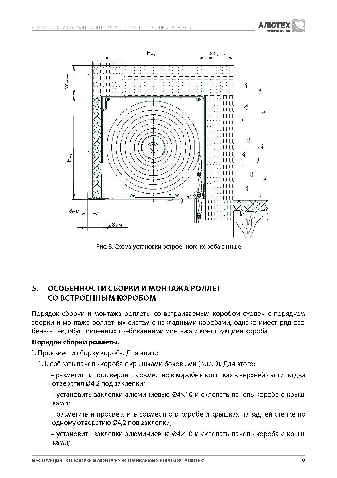 Инструкция по сборке и монтажу встраиваемых коробов Алютех