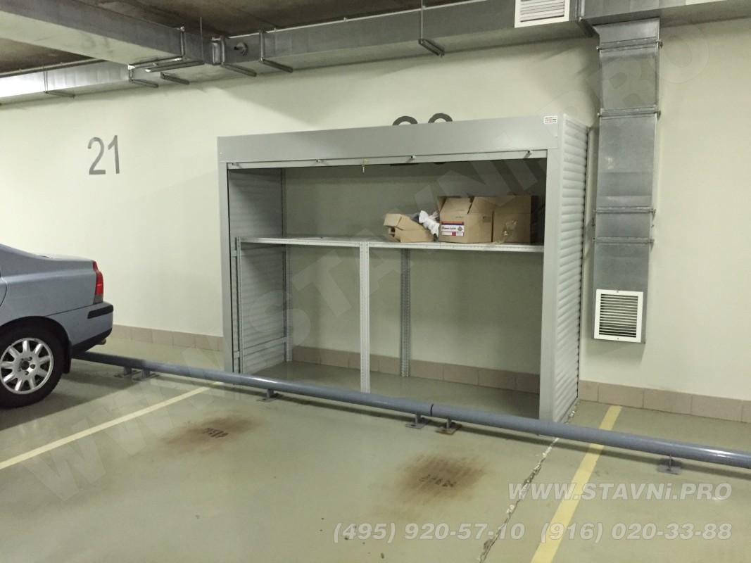 Открытый роллетный шкаф с одной полкой для хранения тента автомобильного