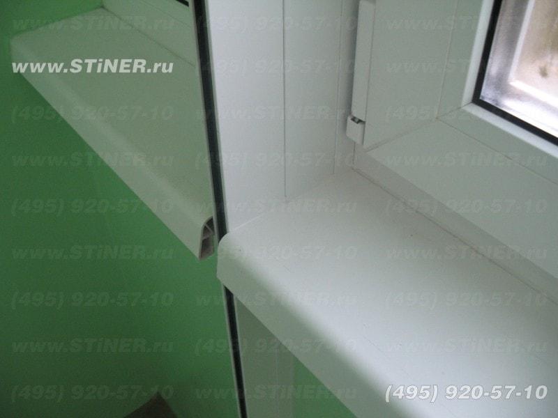 вырезанные подоконник с добором для установки рольставни