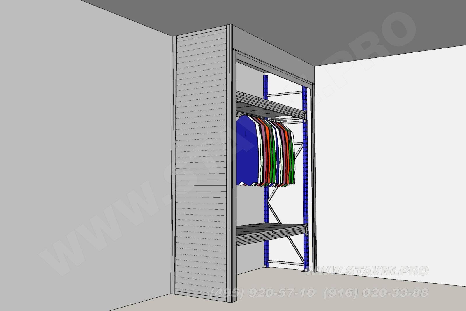 Визуализация шкафа с рольставнями - вид слева