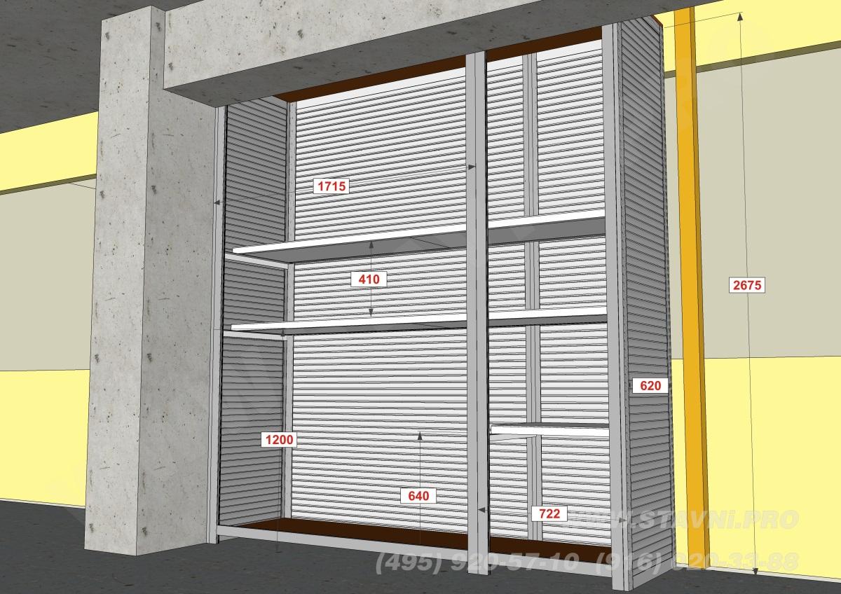 шкаф с металлическими полками в народном гараже