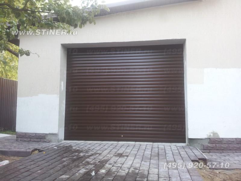 коричневые рулонные ворота для гаража дома дачи в нарофоминске