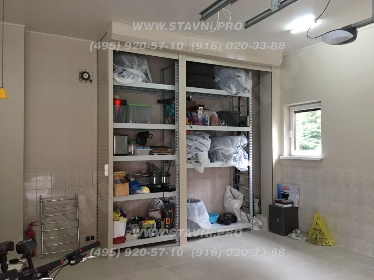 Шкаф с электрическими рольставнями в открытом виде