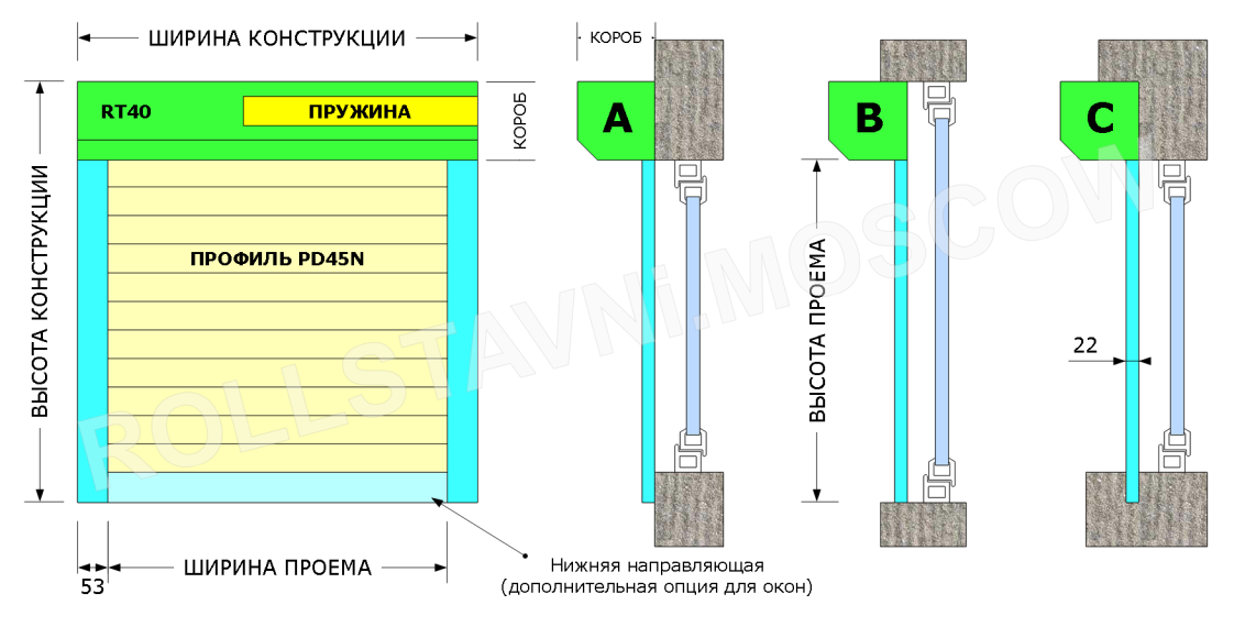 Схема монтажа и габариты ручной роллеты для окна или двери шириной 1000 мм высотой 2250 мм