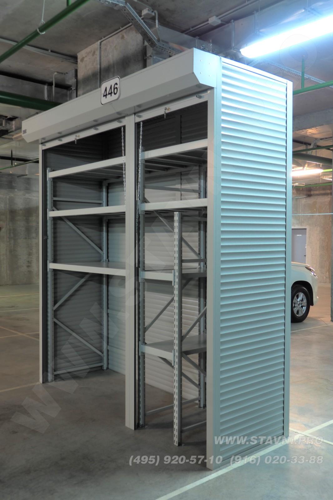 Перспективный вид на шкаф в общем зале парковки ЖК Скайфорт