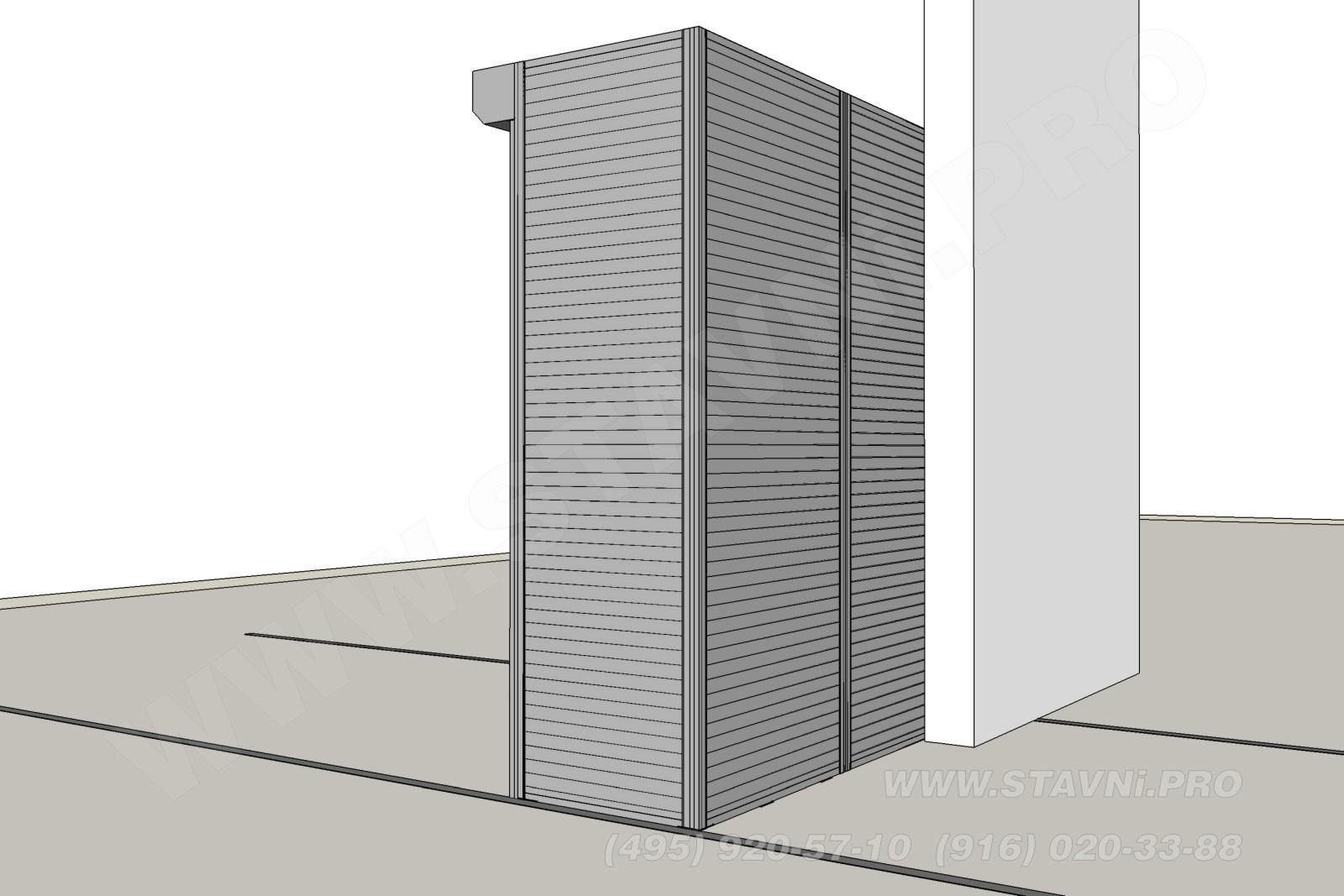 Вид на жалюзийный шкаф с задней стороны
