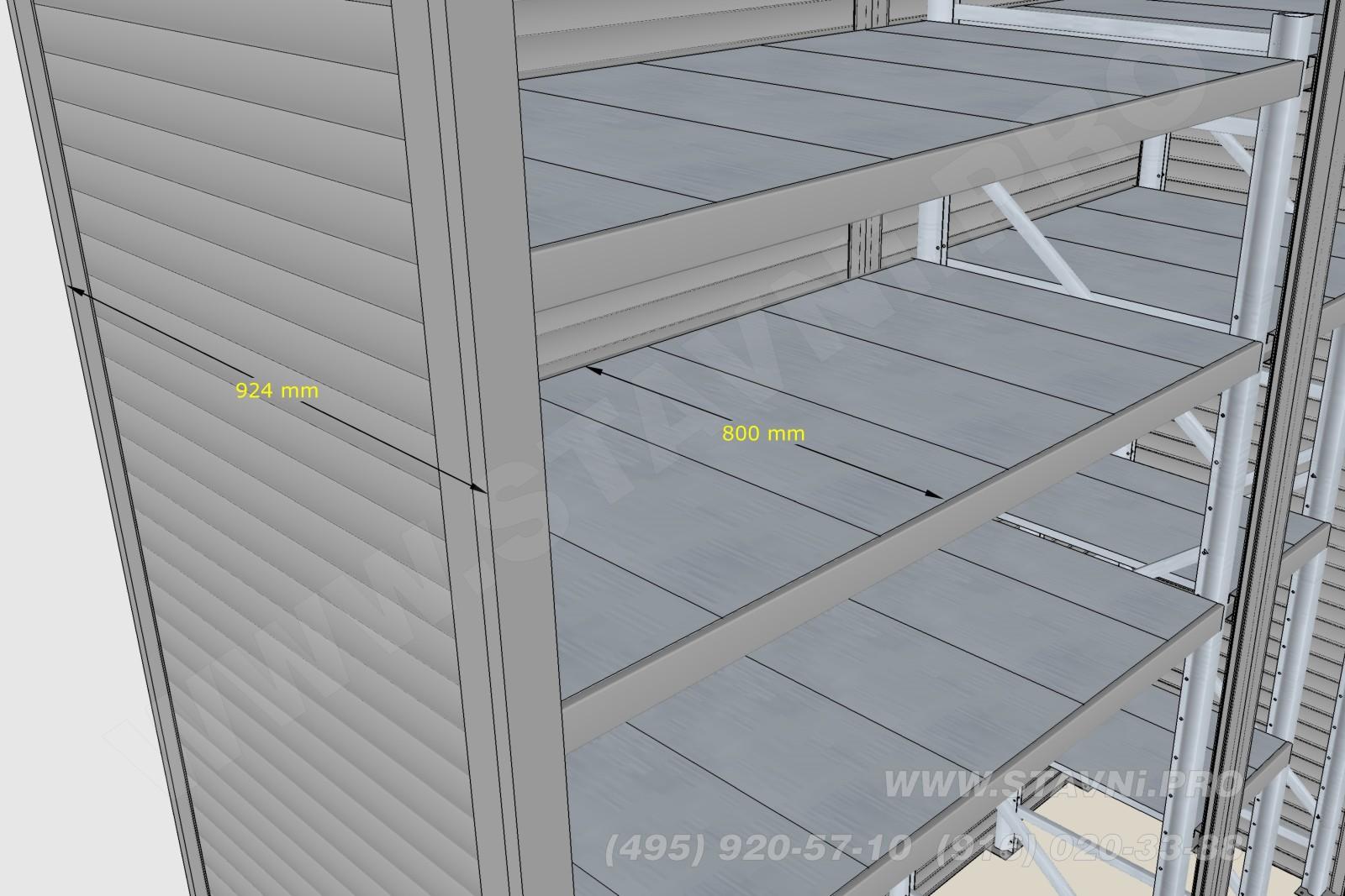 Размеры полок и глубина роллетного шкафа в Скайфорте