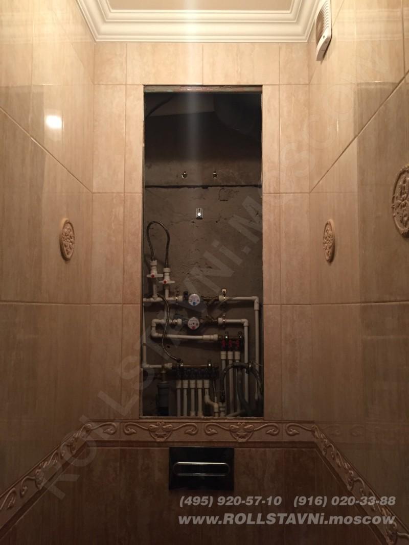 подготовленный проем в туалете для установки скрытой рольставни